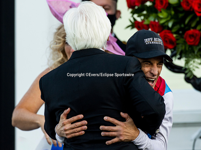 MAY 01, 2021:  John Velazquez  embraces Bob Baffert after winning the 2021 Kentucky Derby at Churchill Downs in Louisville, Kentucky on May 1, 2021. EversEclipse Sportswire/CSM