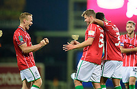 Lincoln City's James Jones, centre, celebrates scoring his side's fourth goal with team-mates Anthony Scully, left, and Max Melbourne<br /> <br /> Photographer Chris Vaughan/CameraSport<br /> <br /> Carabao Cup Second Round Northern Section - Bradford City v Lincoln City - Tuesday 15th September 2020 - Valley Parade - Bradford<br />  <br /> World Copyright © 2020 CameraSport. All rights reserved. 43 Linden Ave. Countesthorpe. Leicester. England. LE8 5PG - Tel: +44 (0) 116 277 4147 - admin@camerasport.com - www.camerasport.com