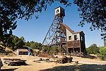 Steel headframe of the historic Kennedy Mine at 5800' the deepest single-shaft goldmine in the Mother Lode, Amador County, Calif.