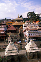 Vista of the Pashupatinath Temple aerial and downtown Kathmandu Nepal Katmandu
