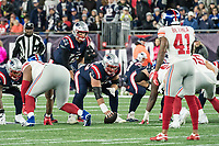 FOXBORO, MA - OCTOBER 10: New England Patriots Quarterback Tom Brady (12) readies for the snap during a game between New York Giants and New England Patriots at Gillettes on October 10, 2019 in Foxboro, Massachusetts.