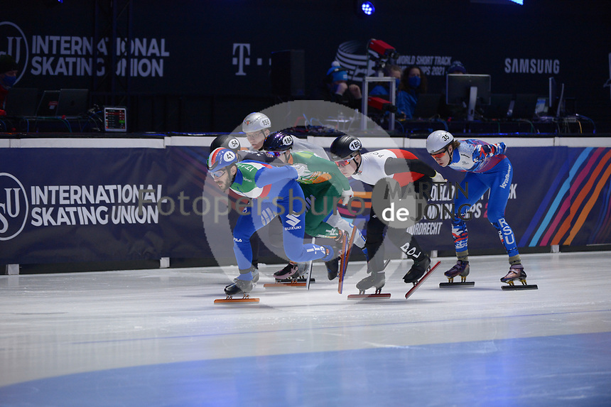 SPEEDSKATING: DORDRECHT: 06-03-2021, ISU World Short Track Speedskating Championships, RF 1500m Men, Yuri Confortola (ITA), Michal Niewinski (POL), Konstantin Ivliev (RSU), ©photo Martin de Jong