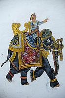 Asie/Inde/Rajasthan/Udaipur: Détail peinture pour le mariage sur les murs d'une maison près du marché Bara Bazar