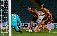 Leeds United's Ian Poveda is kept at bay by Hull City's Callum Elder and Alfie Jones<br /> <br /> Photographer Alex Dodd/CameraSport<br /> <br /> Carabao Cup Second Round Northern Section - Leeds United v Hull City -  Wednesday 16th September 2020 - Elland Road - Leeds<br />  <br /> World Copyright © 2020 CameraSport. All rights reserved. 43 Linden Ave. Countesthorpe. Leicester. England. LE8 5PG - Tel: +44 (0) 116 277 4147 - admin@camerasport.com - www.camerasport.com