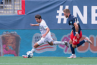 FOXBOROUGH, MA - JULY 4: Alex Morrell #7 of Greenville Triumph SC brings the ball forward down the right side during a game between Greenville Triumph SC and New England Revolution II at Gillette Stadium on July 4, 2021 in Foxborough, Massachusetts.