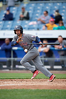 Lehigh Valley IronPigs shortstop Dean Anna (8) lays down a bunt during a game against the Syracuse Chiefs on May 20, 2018 at NBT Bank Stadium in Syracuse, New York.  Lehigh Valley defeated Syracuse 5-2.  (Mike Janes/Four Seam Images)