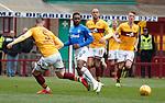 07.04.2019 Motherwell v Rangers: Jermain Defoe squares to Scott Arfield