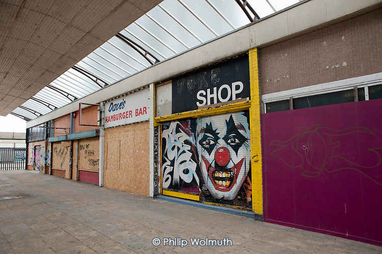 Boarded up and empty shops and businesses in Margate, Kent.