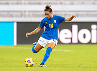 ORLANDO, FL - FEBRUARY 24: Camila #18 of Brazil passes the ball during a game between Brazil and Canada at Exploria Stadium on February 24, 2021 in Orlando, Florida.