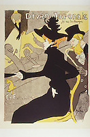 Divan Japonais (Poster) by Toulouse-Lautrec, Henri, de (1864-1901)/ State A. Pushkin Museum of Fine Arts, Moscow/ 1893/ France/ Colour lithograph/ Postimpressionism/ 79,5x59,5/ Poster and Graphic design