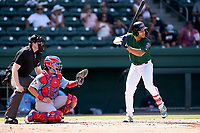 Third baseman Brandon Howlett (35) of the Greenville Drive in a game against the Hickory Crawdads on Sunday, August 29, 2021, at Fluor Field at the West End in Greenville, South Carolina. The catcher is David Garcia (13) and the umpire is Mitch Leikam. (Tom Priddy/Four Seam Images)