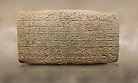 Photo of Hittite sculpted Orthostats panel from the  Long Wall.  Limestone, Kargarmis, Gaziantep, 900 - 700 BC,  Hieroglyph. Anatolian Civilisations Museum, Ankara, Turkey.<br /> <br /> In the epigraph with hieroglyph, he narrates that the gods were provoked against him, the account of the cities conquered and the spoils of war; that he allocated a share for the gods, and that he instigated the mighty king Tarhunza and the other gods. In the other lines, he demands that people should present offerings to statues but should evil-intentioned people be among them, such person individuals be punished by the gods.  <br /> <br /> On a brown art background.