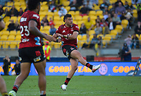 Crusaders David Havili kicks the winning drop goal in extra time during the Super Rugby Aotearoa match between the Hurricanes and Crusaders at Sky Stadium in Wellington, New Zealand on Sunday, 11 April 2020. Photo: Dave Lintott / lintottphoto.co.nz