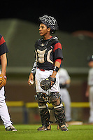 Batavia Muckdogs catcher Pablo Garcia (7) during a game against the Mahoning Valley Scrappers on August 18, 2016 at Dwyer Stadium in Batavia, New York.  Batavia defeated Mahoning Valley 2-1 in twelve innings. (Mike Janes/Four Seam Images)