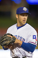 Round Rock Express third baseman Mike Olt #20 in action against the Omaha Storm Chasers in the Pacific Coast League baseball game on April 4, 2013 at the Dell Diamond in Round Rock, Texas. Round Rock defeated Omaha in their season opener 3-1. (Andrew Woolley/Four Seam Images).