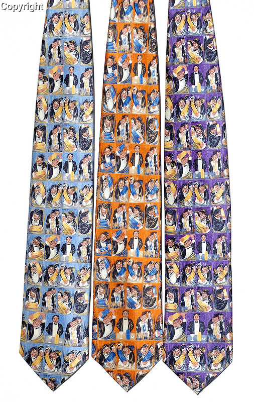 """Guy Buffet 100% Silk Tie<br /> """"Making of a Great Martini""""<br /> $75 includes shipping in Continental US<br /> Specify Color;  Blue, Orange or Purple<br /> Limited quantities."""