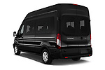 Car pictures of rear three quarter view of a 2019 Ford Transit Wagon 350 XLT Wagon High Roof Pass Slide 148WB 5 Door Passenger Van angular rear