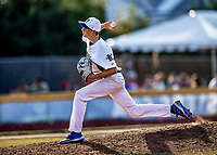 20 June 2021: Vermont Lake Monsters pitcher Wyatt Cameron, from Salisbury, VT, on the mound against the Westfield Starfires at Centennial Field in Burlington, Vermont. The Lake Monsters fell to the Starfires 10-2 at Centennial Field, in Burlington, Vermont. Mandatory Credit: Ed Wolfstein Photo *** RAW (NEF) Image File Available ***