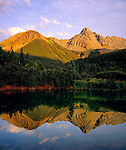 Pond  and Pilot Peak at sunset along Ophir Pass, San Juan Mountains, Telluride, Colorado, USA .  John leads wildflower photo tours into American Basin and throughout Colorado. All-year long. .  John leads private photo tours throughout Colorado. Year-round Colorado photo tours.