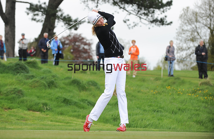 Englands Jodie Kidd hits a shot off the tee..Celebrity Cup at Golf Live  - Celtic Manor Resort - Friday 10th  May  2013 - Newport ..© www.sportingwales.com- PLEASE CREDIT IAN COOK