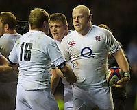 Dan Cole of England shakes hands with David Paice of England after winning the QBE Autumn International match between England and New Zealand at Twickenham on Saturday 01 December 2012 (Photo by Rob Munro)