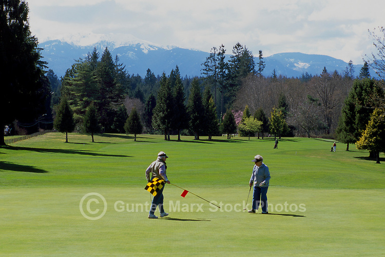 "Senior Ladies golfing on Golf Course at Qualicum Beach, BC, ""Oceanside Region"", Vancouver Island, British Columbia, Canada"
