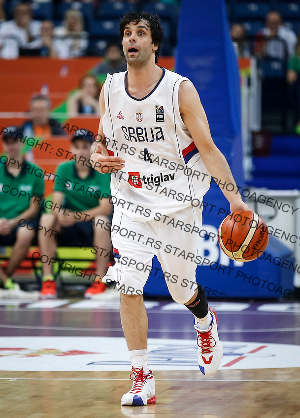 BELGRADE, SERBIA - JULY 08: Milos Teodosic of Serbia in action during the 2016 FIBA World Olympic Qualifying basketball Semi Final match between Serbia and Czech Republic at Kombank Arena on July 08, 2016 in Belgrade, Serbia. (Photo by Srdjan Stevanovic/Getty Images)