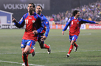 Costa Rica forward Bryan Ruiz celebrates his goal.   The USMNT tied Costa Rica 2-2 on the final game of the 2010  FIFA World Cup Qualifying round at RFK Stadium,Wednesday  October 14 , 2009.