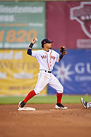 Salem Red Sox shortstop Santiago Espinal (5) throws to first base on an attempted double play during the first game of a doubleheader against the Potomac Nationals on June 11, 2018 at Haley Toyota Field in Salem, Virginia.  Potomac defeated Salem 9-4.  (Mike Janes/Four Seam Images)