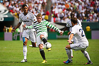 Kris Commons (15) of Celtic F. C. takes a shot over the bar. Real Madrid defeated Celtic F. C. 2-0 during a 2012 Herbalife World Football Challenge match at Lincoln Financial Field in Philadelphia, PA, on August 11, 2012.