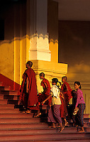 The late afternoon light on the pagoda stairs, a group of traditional burmese and buddhist Monks,Yangon, Burma, Myanmar