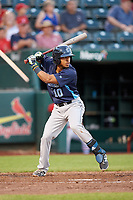 Corpus Christi Hooks second baseman Antonio Nunez (10) at bat during a game against the Springfield Cardinals on May 30, 2017 at Hammons Field in Springfield, Missouri.  Springfield defeated Corpus Christi 4-3.  (Mike Janes/Four Seam Images)