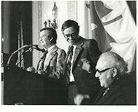 Le Liberal Louis Desmarais<br />  a la tribune du Cercle canadien de Montreal, <br /> le 8 mai 1978, Le Windor Hotel<br /> <br /> <br /> PHOTO : JJ Raudsepp  - Agence Quebec presse