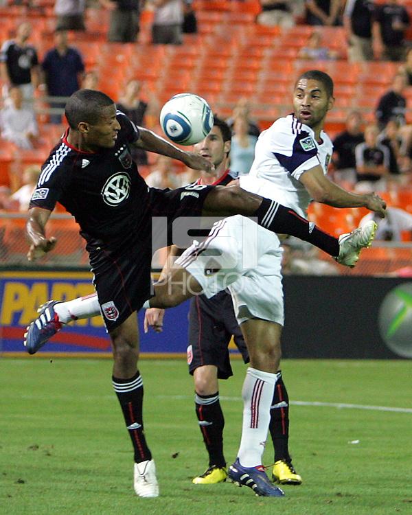 Jordan Graye #16 of D.C. United tangles with Alvaro Saborio #15  of Real Salt Lake during an Open Cup match at RFK Stadium, on June 2 2010 in Washington DC. DC United won 2-1.