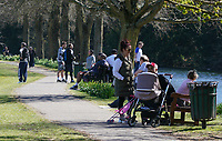 The public continue to leave homes as the weekend weather remains warm during the Covid-19 Pandemic in which the Government have given strict rules on only leaving the home for essential work, food shopping and one form of exercise per day.<br /> The Rye Park in High Wycombe, Bucks on 5 April 2020. Photo by Andy Rowland.