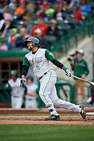 Fort Wayne TinCaps catcher Webster Rivas (8) follows through on a swing during a game against the Wisconsin Timber Rattlers on May 10, 2017 at Parkview Field in Fort Wayne, Indiana.  Fort Wayne defeated Wisconsin 3-2.  (Mike Janes/Four Seam Images)