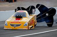 Nov. 1, 2008; Las Vegas, NV, USA: NHRA funny car driver Jeff Arend during qualifying for the Las Vegas Nationals at The Strip in Las Vegas. Mandatory Credit: Mark J. Rebilas-