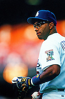 Jose Vizcaino of the Los Angeles Dodgers during a game at Dodger Stadium circa 1999 in Los Angeles, California. (Larry Goren/Four Seam Images)