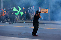 George Floyd protestors clash with police and SWAT near the intersection of Centre Avenue and Negley following a peaceful protest in the East Liberty neighborhood on Monday June 1, 2020 in Pittsburgh, Pennsylvania. (Photo by Jared Wickerham/Pittsburgh City Paper)