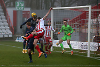 Danny Newton of Stevenage goes close during Stevenage vs Swansea City, Emirates FA Cup Football at the Lamex Stadium on 9th January 2021