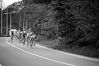 with 30km to go the peloton has broken into smaller groups who try to catch up with riders ahead of them <br /> <br /> Liège-Bastogne-Liège 2014