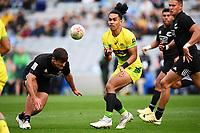 22nd May 2021; Eden Park, Auckland New Zealand; All Blacks Sevens versus Australia, Trans-Tasman Sevens;  Dietrich Roache (aus) passes along his line
