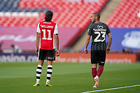 Randell Williams of Exeter City and Michael Harriman of Northampton Town during the Sky Bet League 2 PLAY-OFF Final match between Exeter City and Northampton Town at Wembley Stadium, London, England on 29 June 2020. Photo by Andy Rowland.