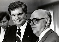Montreal (QC) CANADA file photo -June 18 1986 - Claude Dupras (L) at Jean Drapeau (R) demission speech