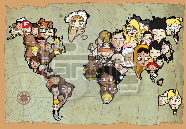 Multi-ethnic people of the world connecting with a globe
