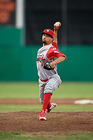 Williamsport Crosscutters relief pitcher Rafael Carvajal (45) delivers a pitch during a game against the Batavia Muckdogs on June 21, 2018 at Dwyer Stadium in Batavia, New York.  Batavia defeated Williamsport 6-5.  (Mike Janes/Four Seam Images)