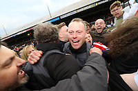 Newport County AFC manager Michael Flynn celebrates after the final whistle as a late goal from Mark O'Brien secures safety for Newport to stay in League two during the Sky Bet League Two match between Newport County and Notts County at Rodney Parade, Newport, Wales, UK. Saturday 06 May 2017