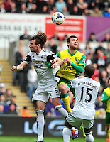 Swansea v Norwich, Liberty stadium Swansea, Saturday 29th March 2014<br /> <br /> Photographs by Amy Husband<br /> <br /> Swansea's Michu with the header
