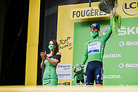 stage winner Mark Cavendish (GBR/Deceuninck-Quick Step) receiving the green jersey for being the new leader in the points classification.<br /> <br /> <br /> Stage 4 from Redon to Fougiéres (150.4km)<br /> 108th Tour de France 2021 (2.UWT)<br /> <br /> ©kramon