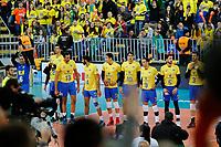 CURITIBA,PR, - 08.07.2017 – BRASIL-FRANÇA -  Partida entre Brasil (amerelo) e França (azul), jogo válido pela final da liga mundial de vôlei no estádio Arena da Baixada, em Curitiba neste sábado (08). (Foto: Paulo Lisboa/Brazil Photo Press)